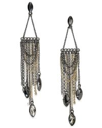 ABS By Allen Schwartz | Metallic Two-tone Stone Fringe Chandelier Earrings | Lyst