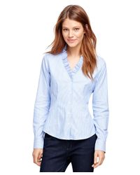 Brooks Brothers | Blue Non-iron Ruffled Collar Dress Shirt | Lyst