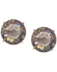 Anne Klein | Gray Silver-tone Faceted Grey Stone Stud Earrings | Lyst