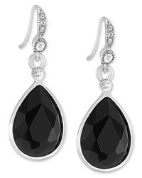 Carolee | Metallic Silver-tone Jet Stone Teardrop Earrings | Lyst
