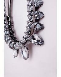 Missguided - Metallic Rope Detail Crystal Drop Necklace Silver - Lyst