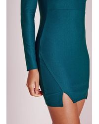 Missguided   Blue Crepe High Neck Bodycon Dress Teal   Lyst