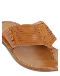 Pollini - Brown Laser-cut Leather Flip Flops - Lyst