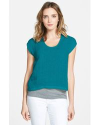 Eileen Fisher | Blue Organic Linen U-neck Crop Top | Lyst