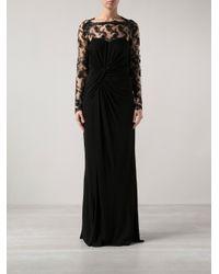 David Meister - Black Sheer Floral Lace Dress - Lyst