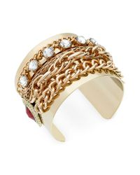 Guess - Metallic Goldtone Multichain and Crystal Cuff Bracelet - Lyst