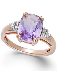 Macy's | Pink Amethyst (2-3/4 Ct. T.w.) And Diamond (1/10 Ct. T.w.) Ring In 14k Rose Gold | Lyst