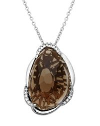 Lord & Taylor | Brown Sterling Silver Necklace With Smokey Topaz Pendant | Lyst