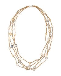 Gardenia - Natural Tan Suede  Freshwater Pearl Necklace - Lyst