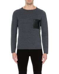 Sandro | Gray Leather-pocket Wool Jumper for Men | Lyst
