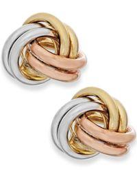 Macy's | Metallic Tri-tone Love Knot Stud Earrings In 10k Gold | Lyst