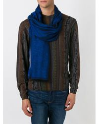 Etro - Blue Checked Floral Paisley Scarf for Men - Lyst