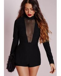 Missguided | Mesh Insert High Neck Playsuit Black | Lyst