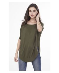 Express - Green Extreme Circle Hem Tunic Sweater - Lyst