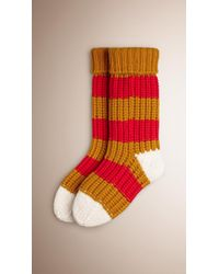 Burberry   Red Striped Knitted Cashmere Socks for Men   Lyst