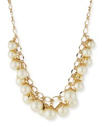 kate spade new york | Metallic Petaled Faux-Pearl Necklace | Lyst