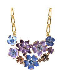 Anne Klein | Metallic Goldtone Blue Purple Flower Drama Collar Necklace | Lyst