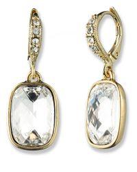 Givenchy - Metallic Goldtone Rectangular Crystal Drop Earrings - Lyst
