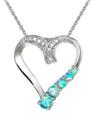 Lord & Taylor | Blue Opal And Sterling Silver Heart Pendant Necklace | Lyst