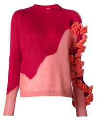 Delpozo - Red Ruffle Detail Knit Sweater - Lyst