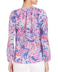 Lilly Pulitzer | Multicolor Saria Silk Top | Lyst