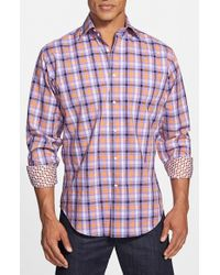 Thomas Dean | Purple Regular Fit Windowpane Plaid Sport Shirt for Men | Lyst