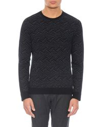 Vince | Gray Chevron Print Wool And Linen-blend Sweater for Men | Lyst