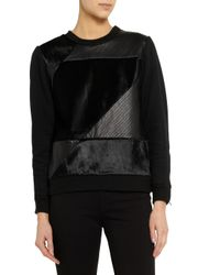 Theory - Black Leather And Calf Hair-Paneled Cotton-Blend Sweatshirt - Lyst
