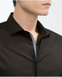 Zara | Black Stretch Shirt for Men | Lyst