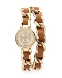 Tory Burch - Metallic Mini Reva Double Wrap Watch - Lyst