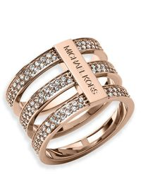 Michael Kors | Metallic Triple-stack Pave Ring | Lyst