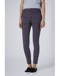 TOPSHOP - Blue Disk Tile Print Denim Leggings - Lyst