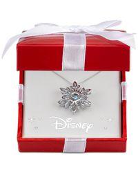 Macy's | Metallic Clear Stone Frozen Snowflake Pendant Necklace In Sterling Silver | Lyst