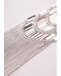Missguided | Metallic Layered Bar Necklace Silver | Lyst