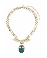 TOPSHOP | Green Semi-precious Drop Necklace | Lyst