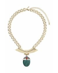 TOPSHOP - Green Semi-precious Drop Necklace - Lyst