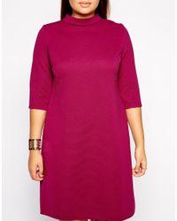 ASOS - Purple Rib Shift Dress With Half Sleeve - Lyst