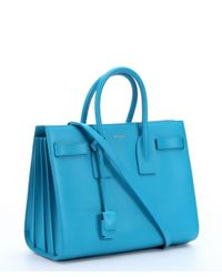 Saint Laurent - Blue Aqua Leather 'Sac De Jour' Tote Bag - Lyst