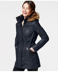 Calvin Klein | Blue Faux-fur-trim Coated-cotton Anorak | Lyst