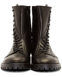 Yohji Yamamoto | Brown Buffed Leather Curved Lace-up Boots for Men | Lyst