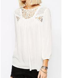 Vero Moda - White Lace Insert Blouse - Lyst