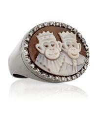 Amedeo - Black Sardonyx Shell and Diamond Monkey Cameo Ring - Lyst
