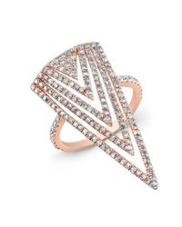 Anne Sisteron - Pink 18kt Rose Gold Diamond Arrowhead Ring - Lyst
