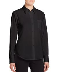 Theory | Black Weylend Stretch Cotton Shirt | Lyst