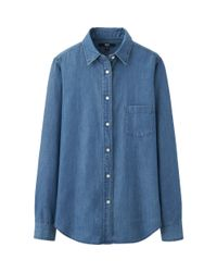 Uniqlo - Blue Denim Long Sleeve Shirt - Lyst