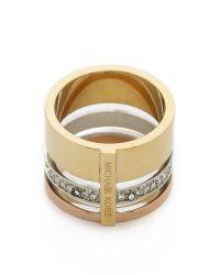 Michael Kors | Metallic Tri Tone Barrel Ring - Tritone | Lyst