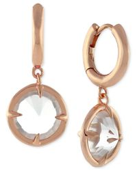 Vince Camuto | Pink Gold-tone Crystal Dangle Hoop Earrings | Lyst