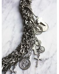Free People | Metallic Multi Chain Cross Necklace | Lyst