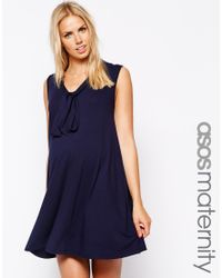 ASOS - Blue Pussybow Swing Dress - Lyst