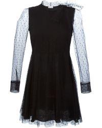 RED Valentino - Black Polka Dot Flared Dress - Lyst